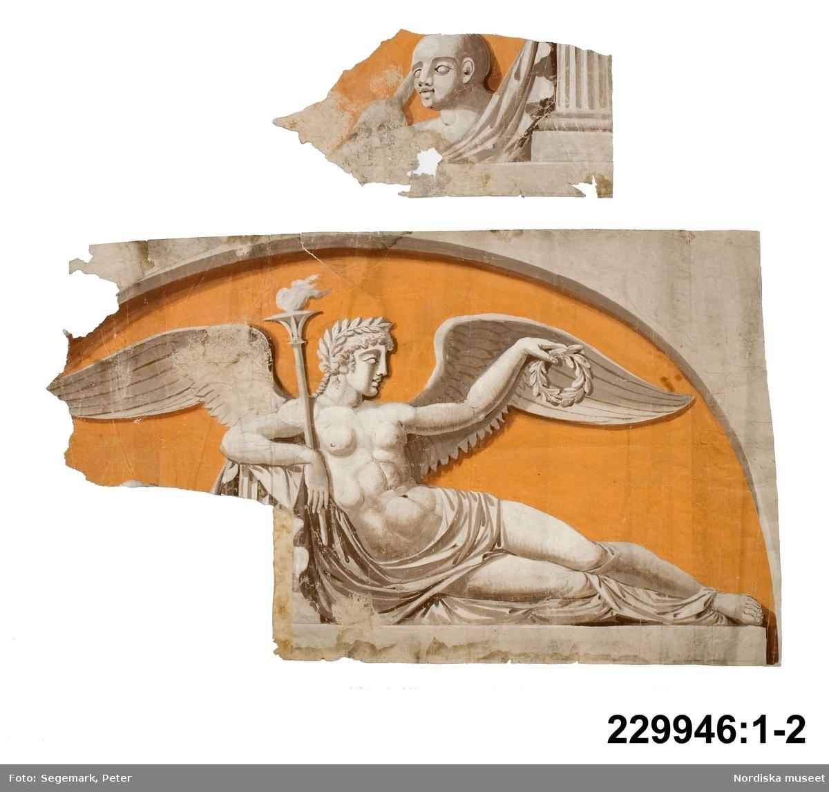 Mytologi, väsen, genie. Skulptur, byst. Textil, tyg, drapering. Lagerkrans. Fackla.