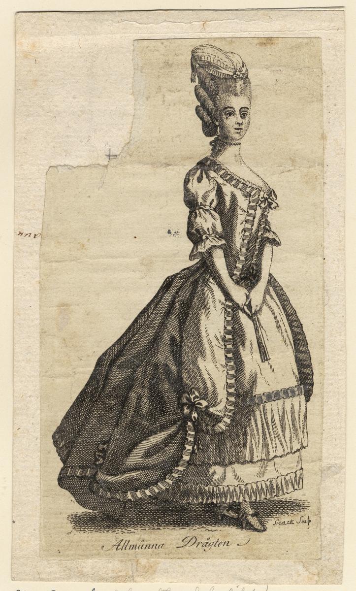 """Gustaf III:s nationella dräkt. """"Allmänna drägten."""" Dam i svenska dräkten. Gravyr av Johan Snack (1756-1790), trol. ca 1780."""
