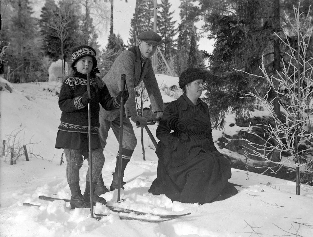 Vinterbild. Gruppfoto av en kvinna som sitter på en sparkstötting och en pojke och en flicka på skidor.