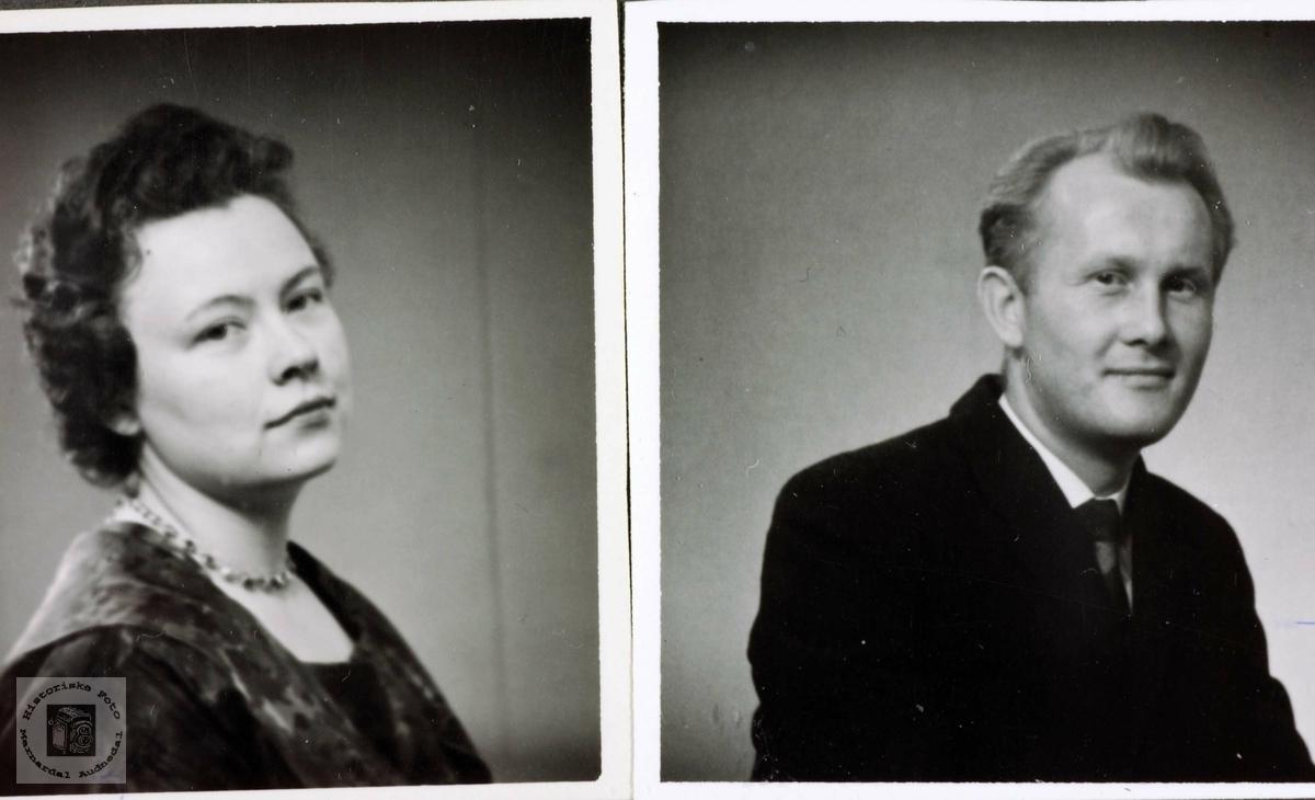 Portrett av Bjørg Elisabeth Flottorp ogTorjus Øydna. Grindheim Audnedal.