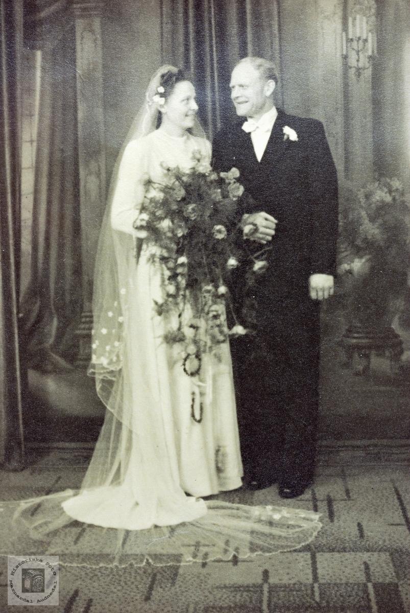 Brudebilde av Gunlaug og Erik Leland. Grindheim