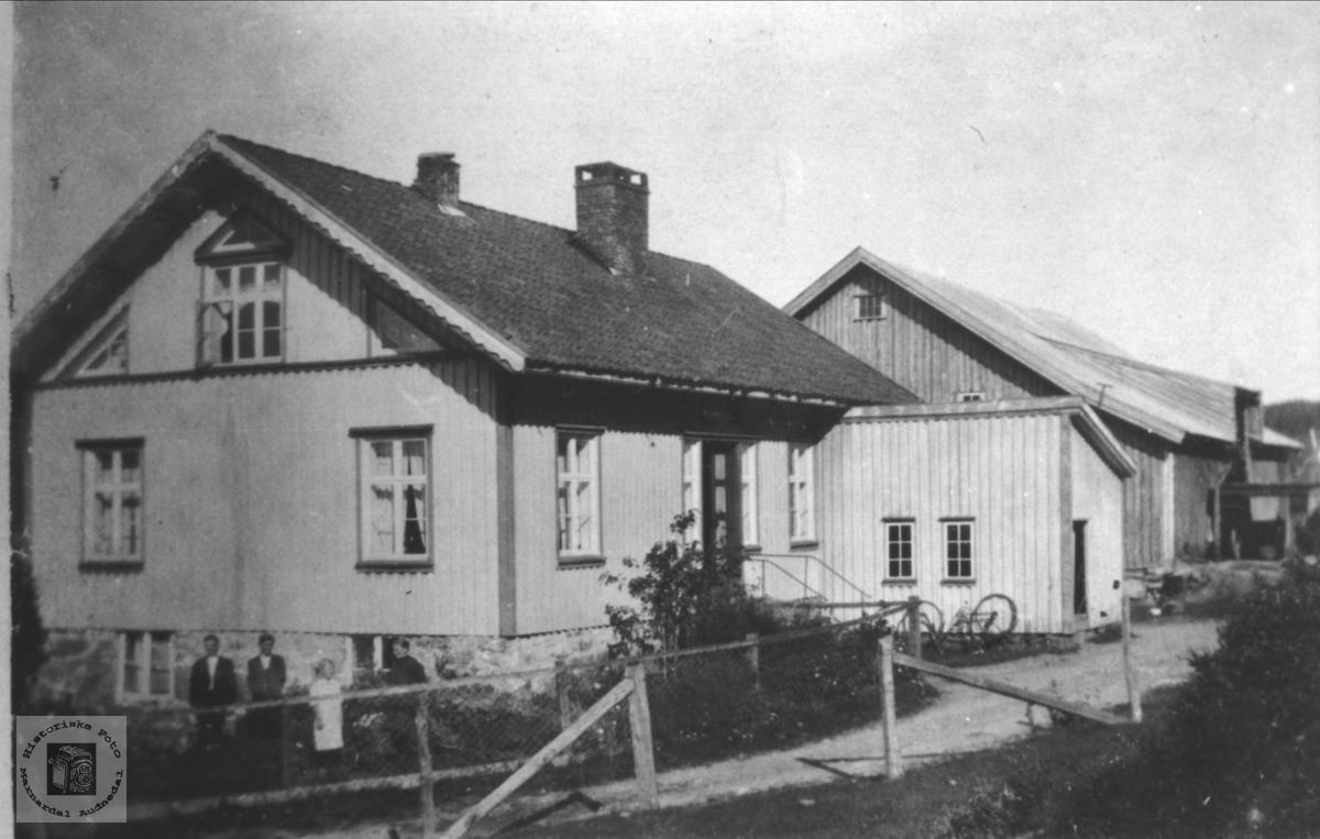Hus og gamle uthus på bnr 6 på Høye i Øyslebø.
