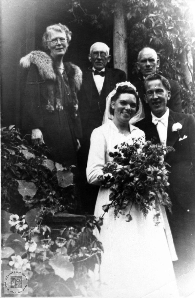 Brudeparet med foreldre Heddeland, Øyslebø.