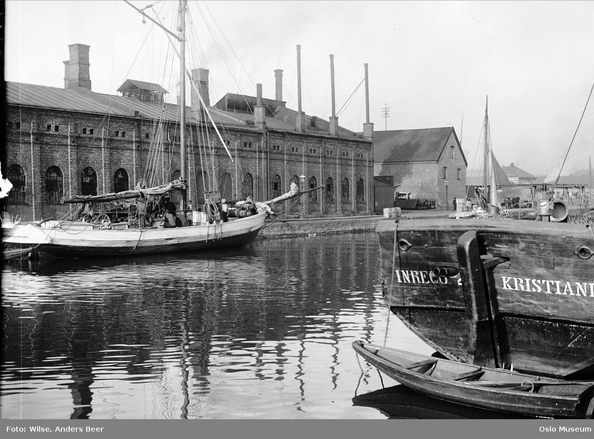 elv, utløp, seilfartøyer, industribygninger, Nylands verksted