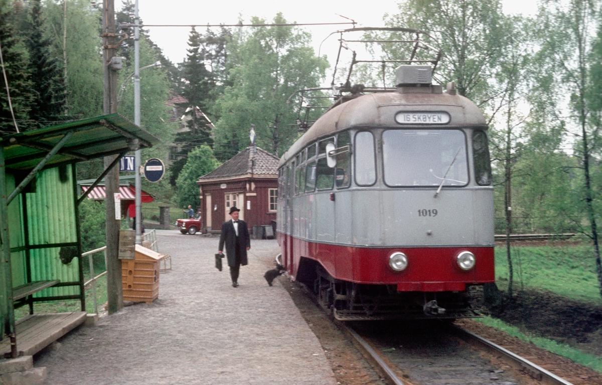 Ekebergbanen, Oslo Sporveier. Vogn 1019 på endeholdeplassen Ljabru.