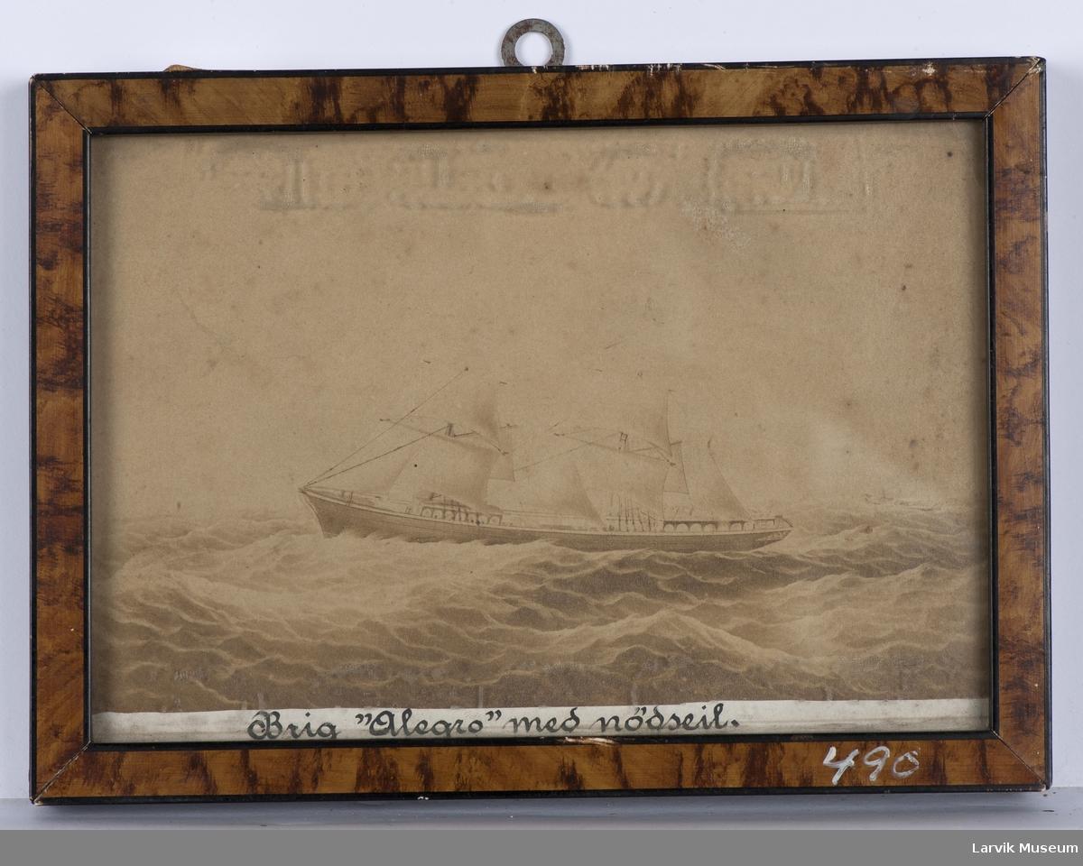 ALLEGRO Nasjon: Norsk Type: Brigg Byggeår: 1874 Byggested: Brevik, Norge Dismasted 1876 Endelig skjebne ukjent