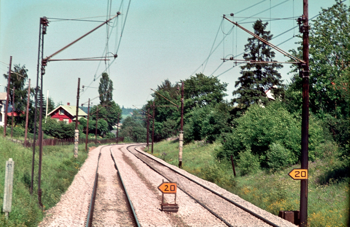 Hovedbanen ved innkjørhovedsignal B Strømmen stasjon.