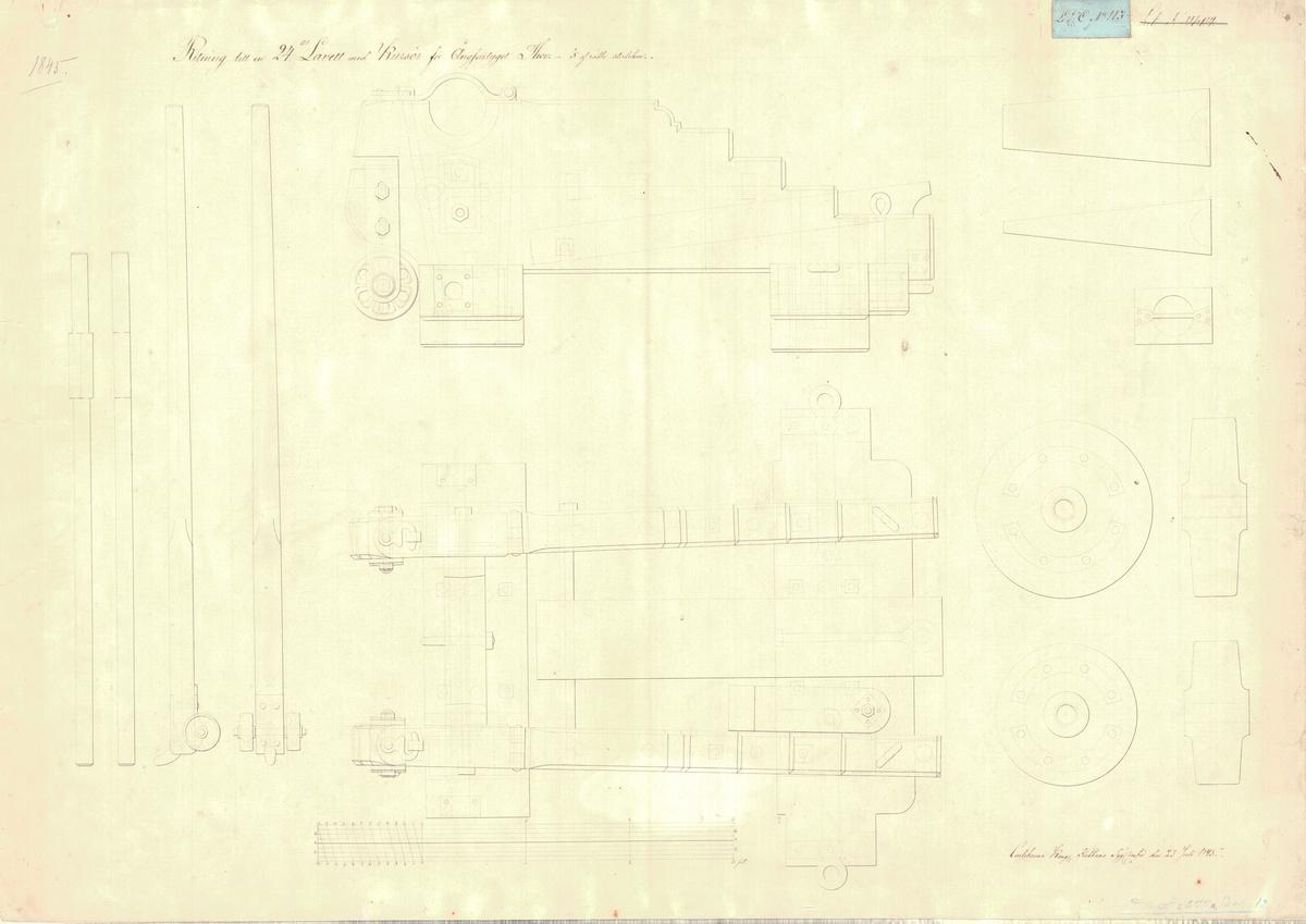 2 st ritningar till en 24 pundig lavett med kursör för ångfartyget Thor