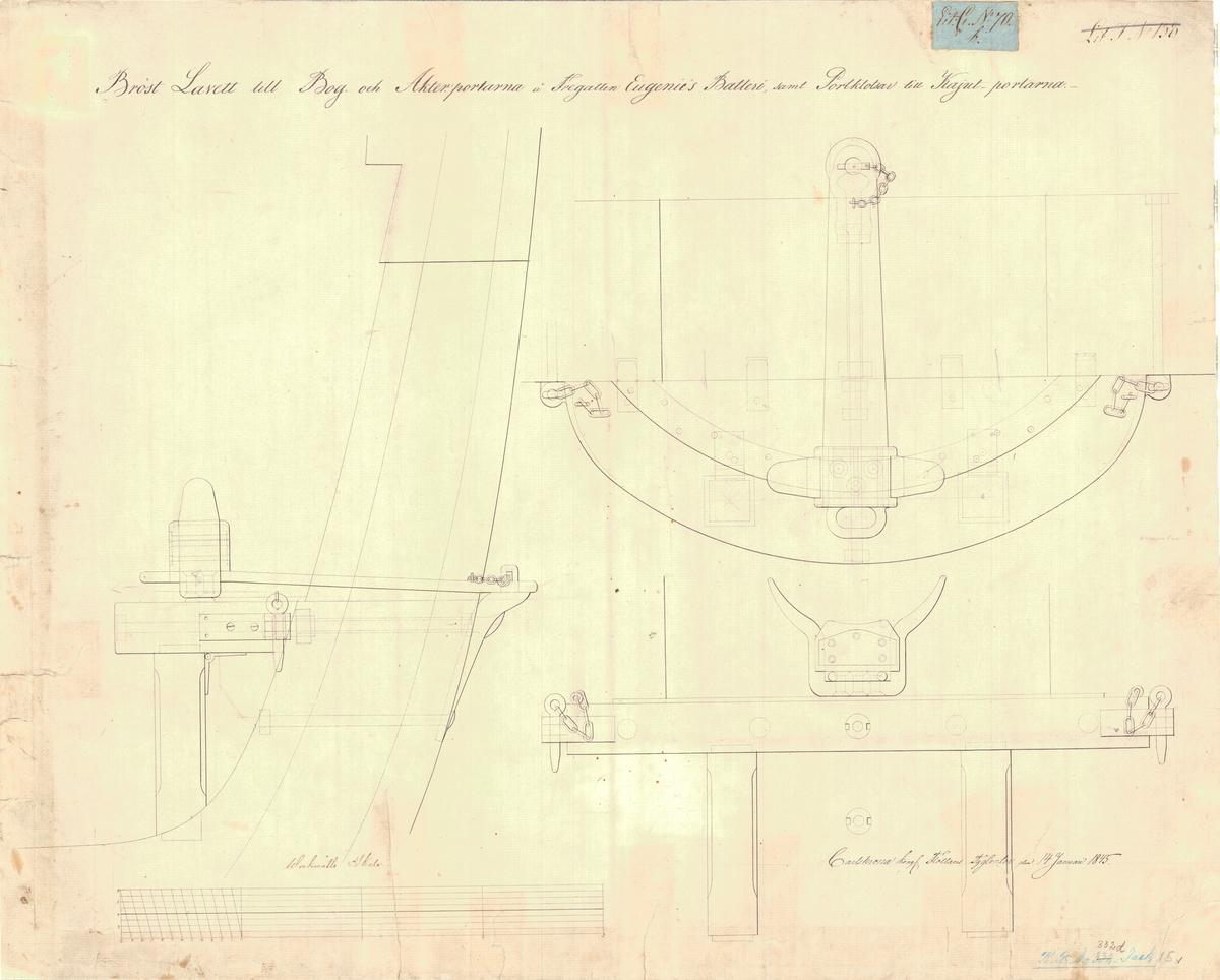 4 st ritningar visande bröstlavett till bog- och akterportarna å fregatten Eugenies batterier samt portklotsar till kajutportarna