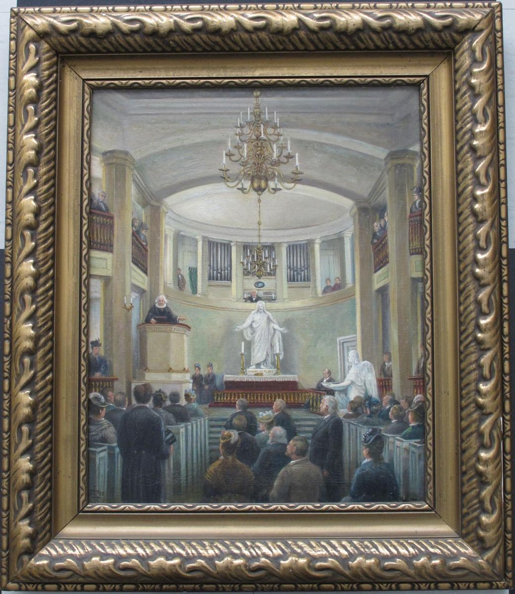 Interiøret i Arendals kirke nr. 2  (Groschkirken).  Interiør sett mot   koret  i kirken. med presten,  prost Cormontan,   på prekestolen og menigheten samlet  i de fulle benkerader og i midtgangen.  I koret to damer (Prostens døtre) og klokkeren.  Folk også på galleriene.  Rommet er malt i lyst grått, lys grønnt  og lyst beige. dyprødt ved alteret