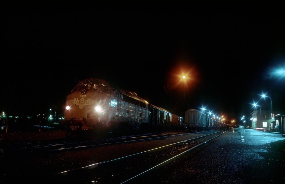 Godstog 5794 (Bodø - Trondheim) i Mosjøen. Toget er delt i to deler og står i spor 2 og 3. Det var vanlig rutine fordi toget var for langt for kryssingssporene. Toget hadde kryssing her og ble dessuten forbikjørt av sørgående natthurtigtog.