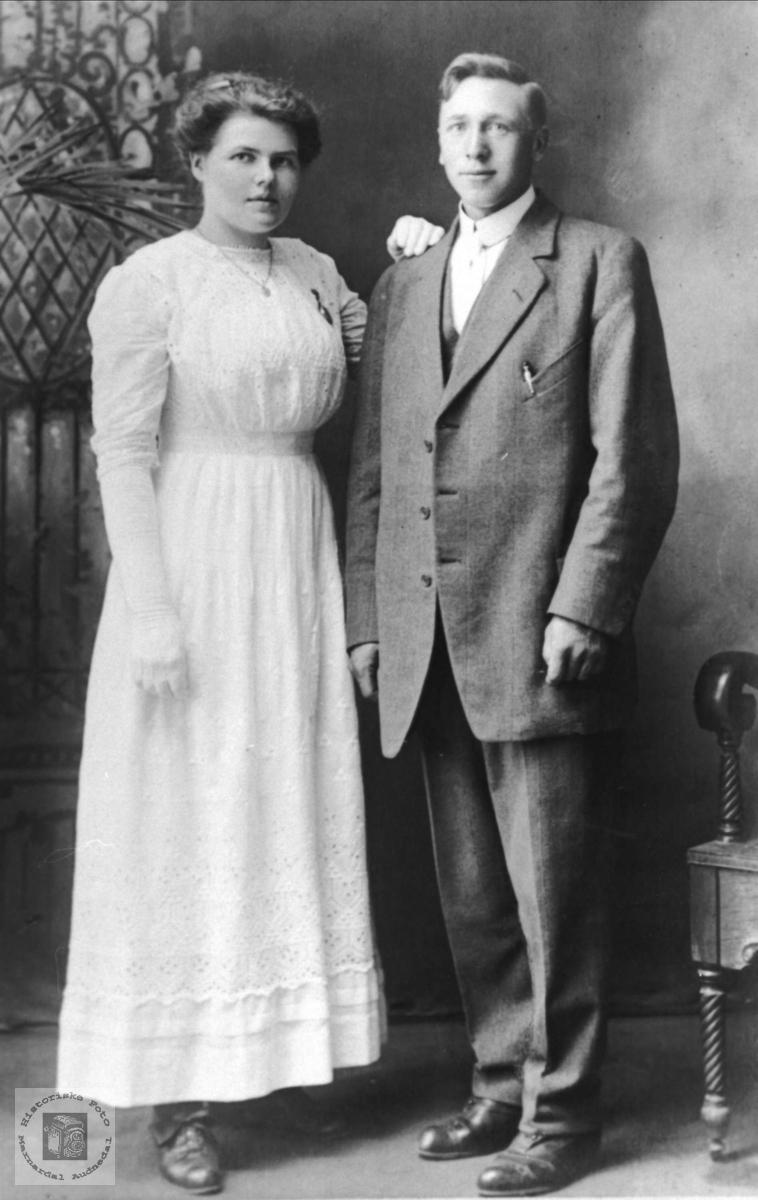 Brudepar. Anna og Theodor Lindland.