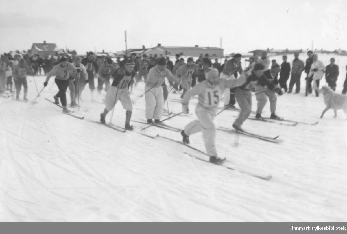 Starten har gått for en stor bedriftsidrettsstafett i Vadsø ca. 1950. Fritz Ebeltoft nærmest kamera med nr 15 på brystet, han ligger først i løypa