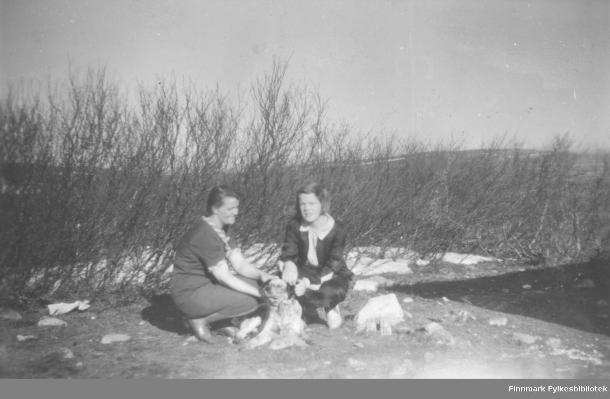 Svanhild og Ragnhild Kvam - mor og datter - på hytta med hunden Lady, 7.6.1944, som var Ragnhilds 14-årsdag