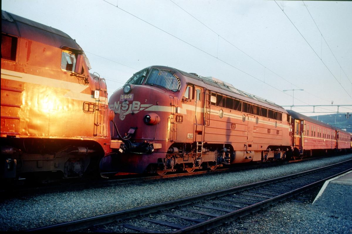 Solnedgangen speiler seg i lokomotivene på nattoget til Bodø på Trondheim stasjon, med to dieselelektriske lokomotiver type Di 3.