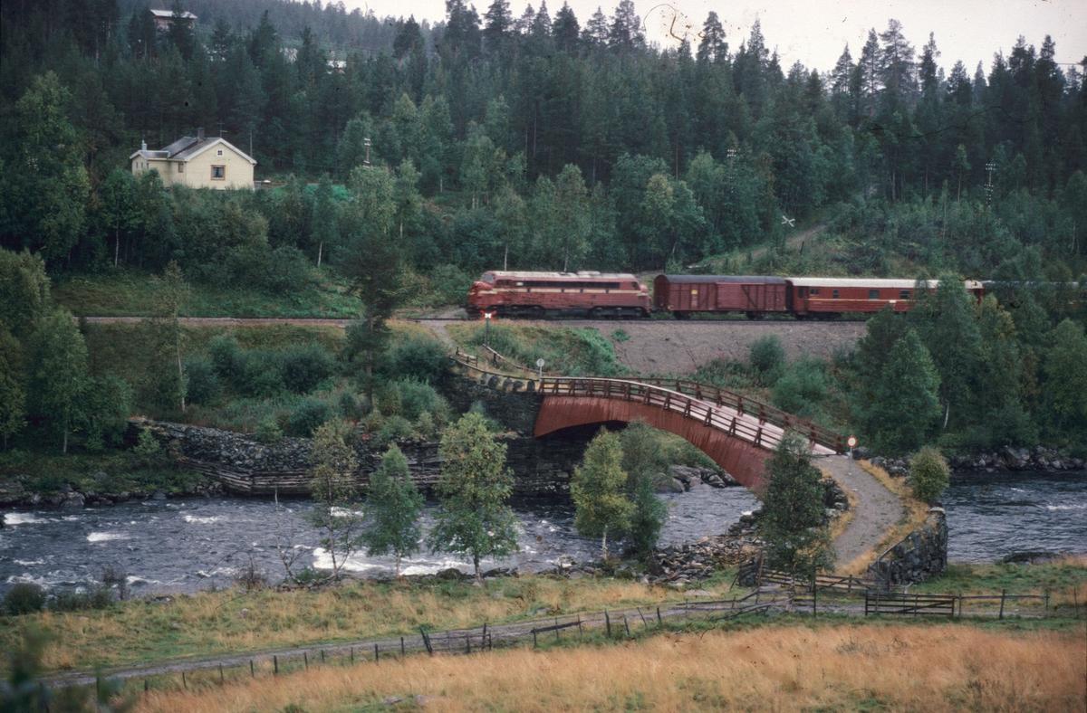 Dagtoget Oslo - Trondheim over Røros, tog 301, ved gammelbrua på Tolga. Nord-Østerdalen, banestrekningen Tolga - Os.