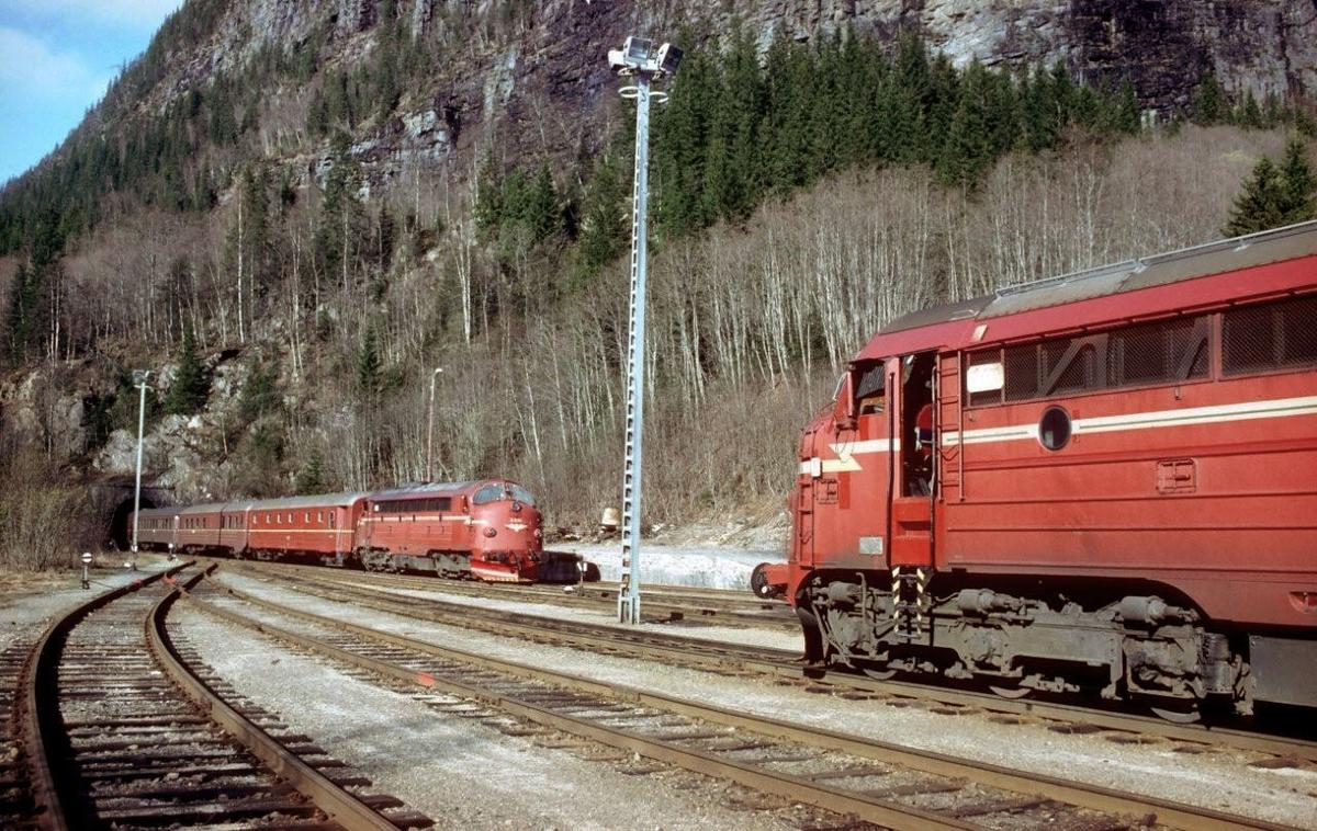 Godstog 5793 til Bodø krysser hurtigtog 452, dagtoget Bodø - Trondheim, i Grong.