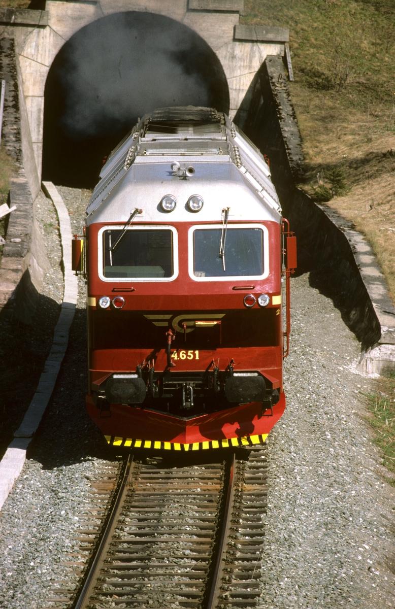 Prøvekjøring av nytt dieselelktrisk lokomotiv Di 4 651 på Stavne-Leangenbanen. Testing av elektrisk motstandsbrems.