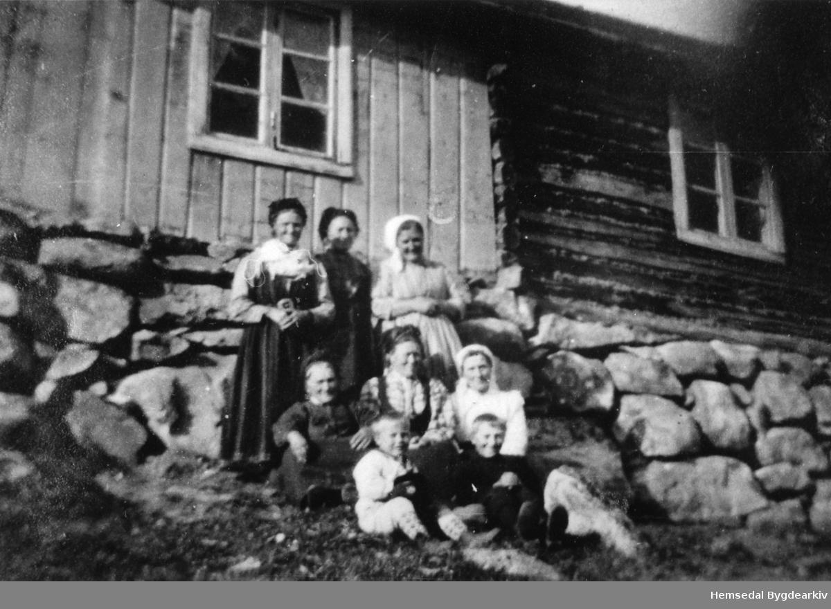 Krossleino i Hemsedal,ca. 1917. Rustobua. Fremst frå venstre: Eirik Hølto, Ukjend. Andre rekke frå venstre: Ukjend, Kari Olsdotter Haug, Margit Hølto Bak frå venstre: Rangdi Trøim, Birgit Rusto, Karoline Langehaug.