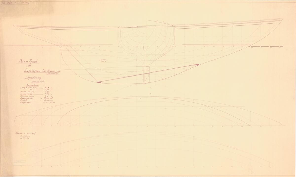 Ritningar till yawl gjorda av Tore Holm för Albert Bonnier jr 1946.