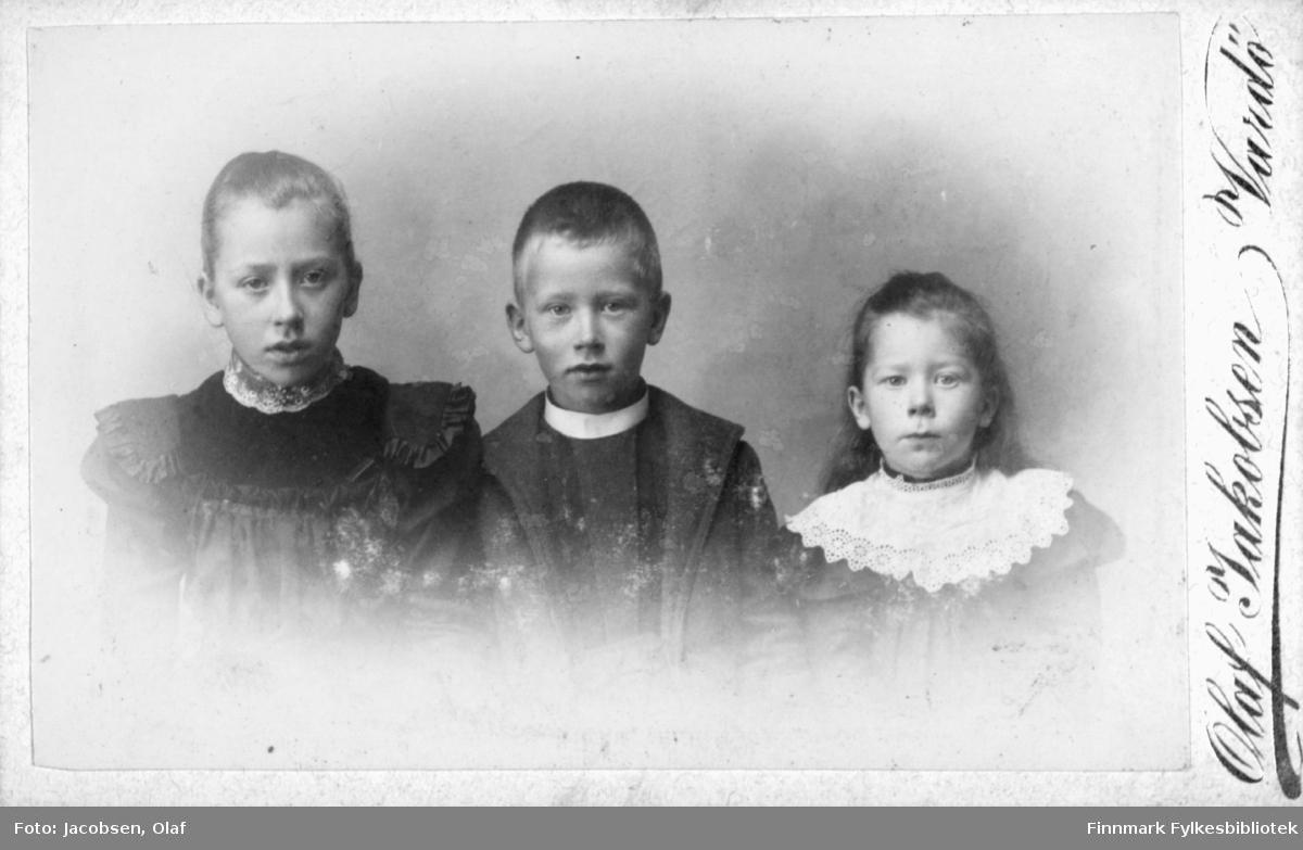 Barn to gutter en jente, hun har en brodert krage. de står ved siden av hverandre, bildet er i halvfigur fra studio ateliere  Albumet med bildet kommer fra Ekkerøy, kanskje barna bodde der.