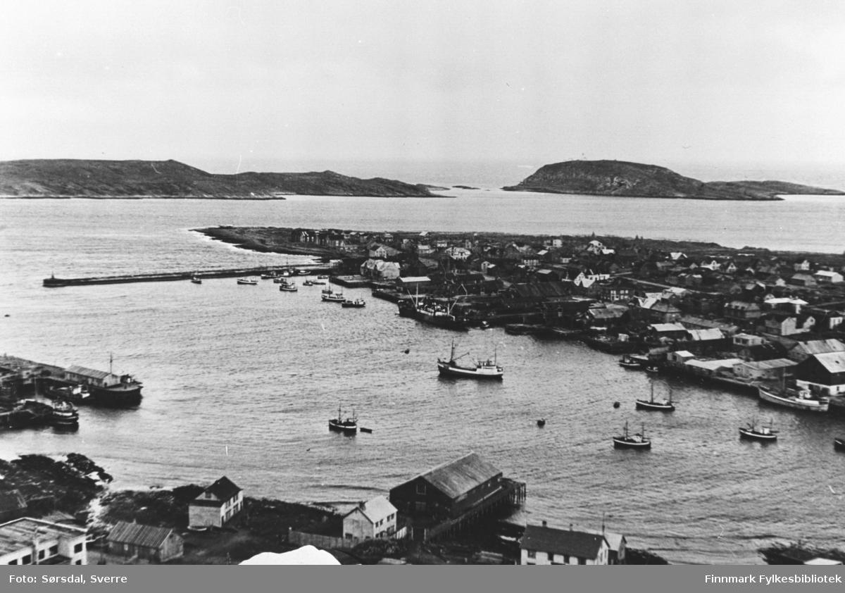 Det ser ut som et flybilde over Vardø. Vi ser havna med båter, kaier og sjåer. Bolighusene ses også.
