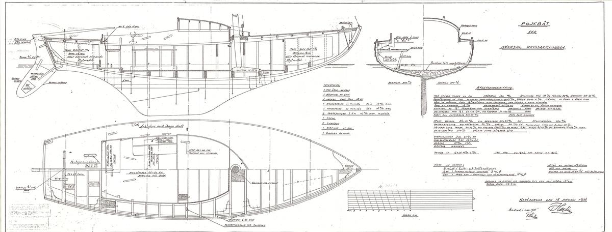 Byggnadsritning i plan och profil med sektioner