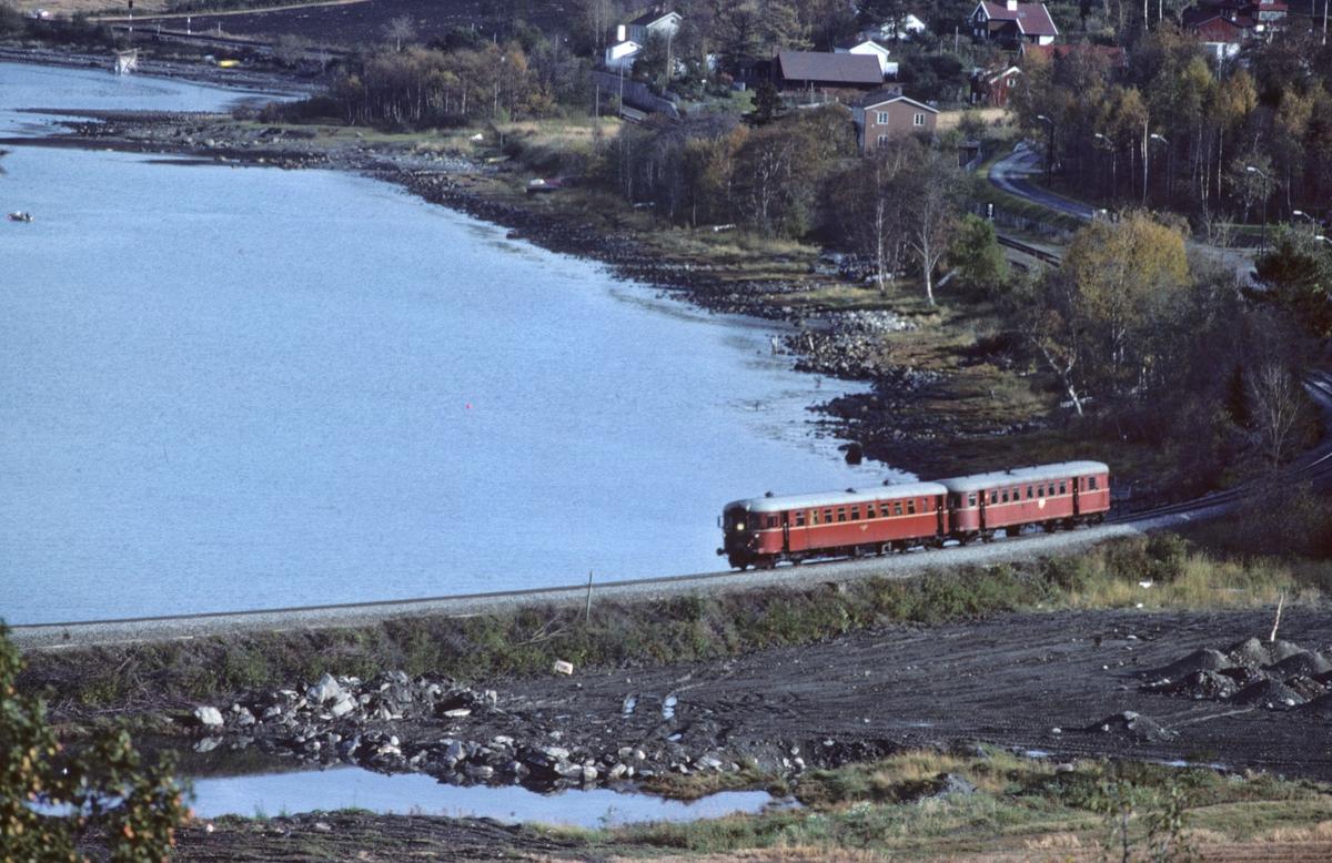 NSB Persontog med dieselmotorvogn og styrevogn type 86 ved Vikhamar.