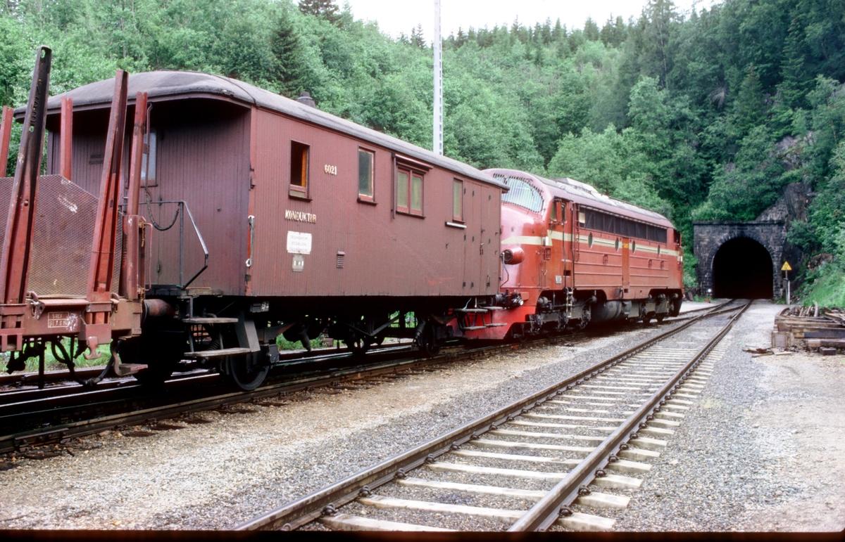 Godstog 5771 venter på avgang fra Grong stasjon. NSB konduktørvogn FV 6021 og dieselelektrisk lokomotiv Di 3 603.
