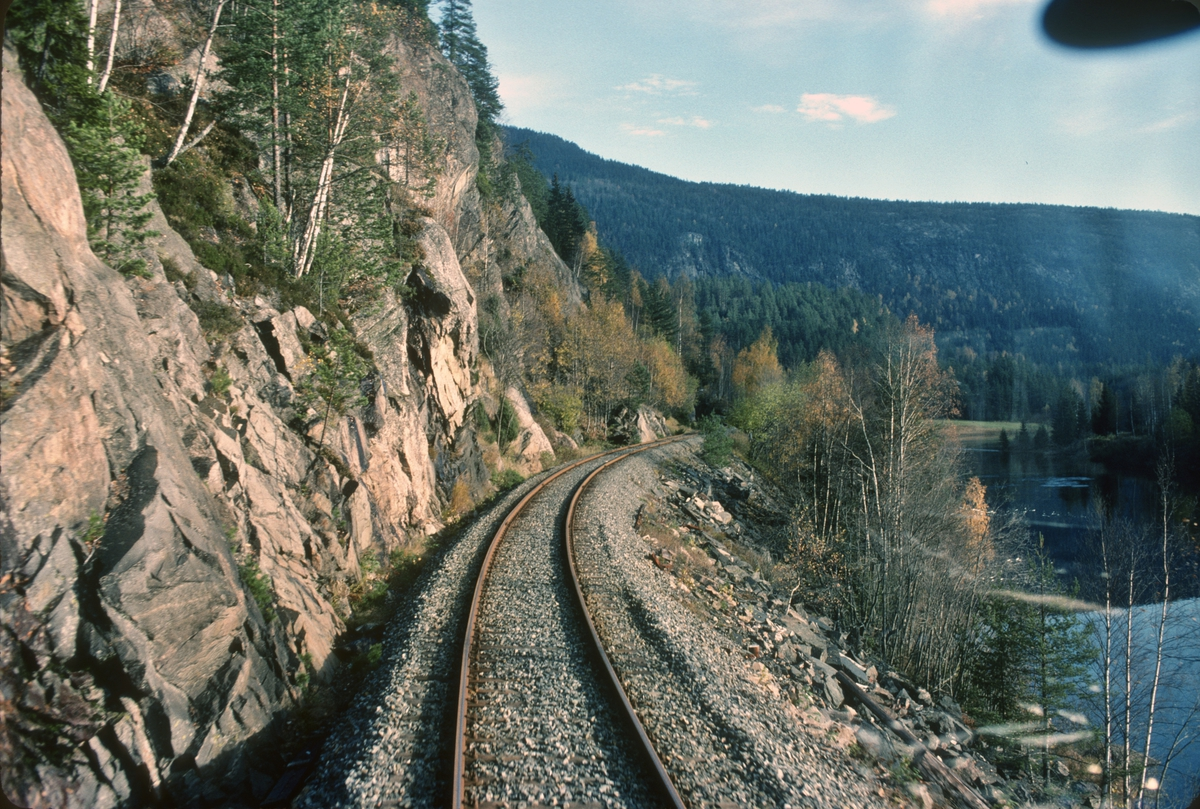Parti fra Numedalsbanen langs Numedalslågen sett fra førerrommet på tog til Kongsberg. I nærheten av Rollag kirke.