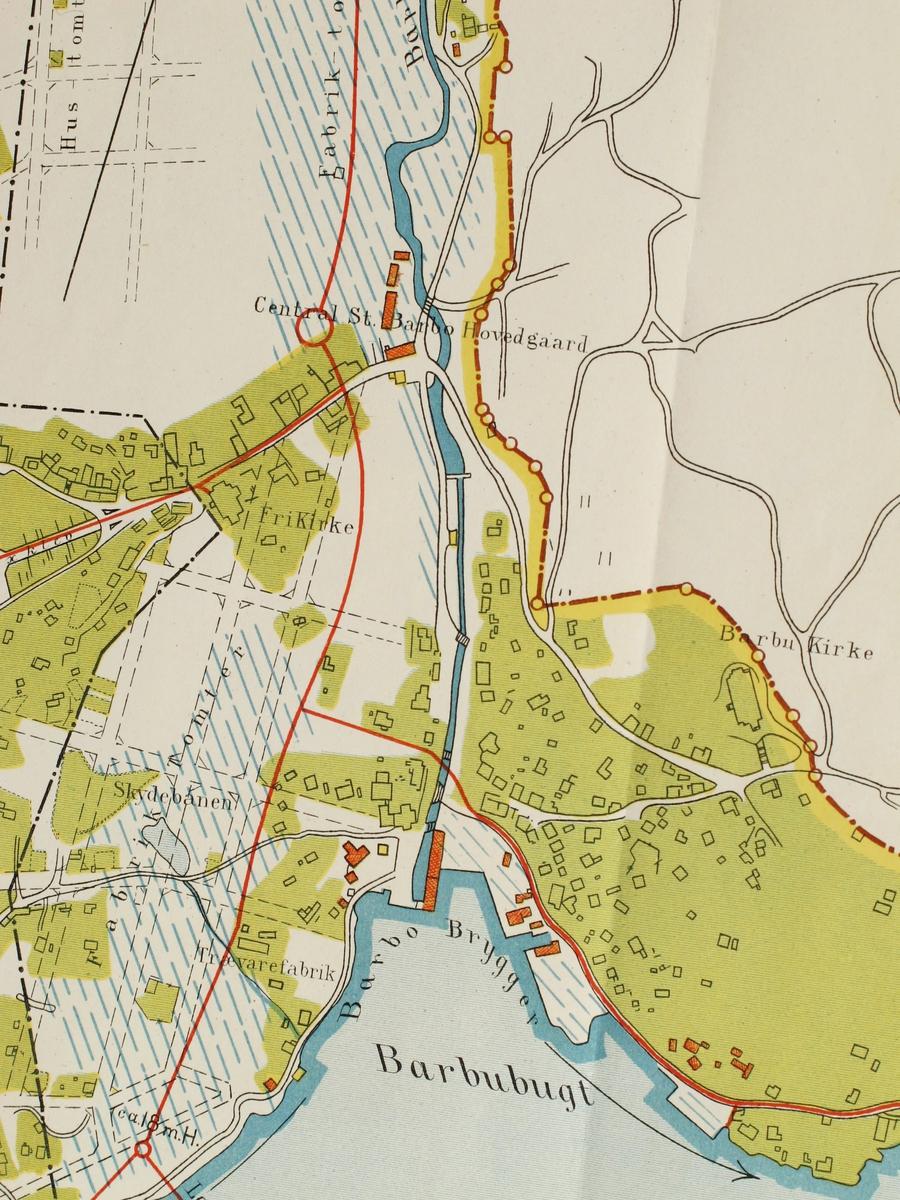 Kart over Barbu og Langsæ. Eiendomskart 1:4000. Viser bl.a. bygrensen før 1902.