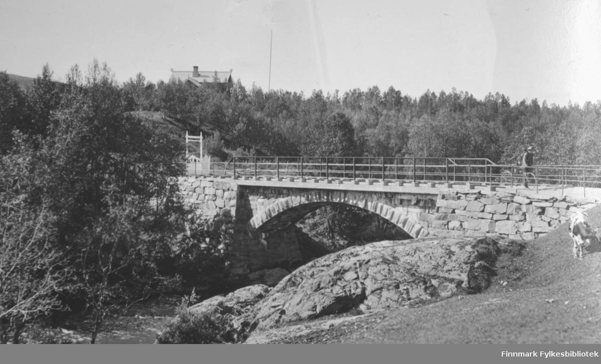 En steinbro går over en liten elv før boligen Saga. Broa er forseggjort med fundament/brokar pent murt opp og en buegang under. Rekkverket er jevnt og går på begge sider av broa. På andre siden av broa er en port og en liten bygning bak den igjen. Mye skog på bildet, men helt foran er det gress. En bergknaus går ned i elva fra ene brokaret. En person på sykkel står oppe på broa. I bakgrunnen ses taket på Saga med pipa og flaggstanga står til høyre for huset.