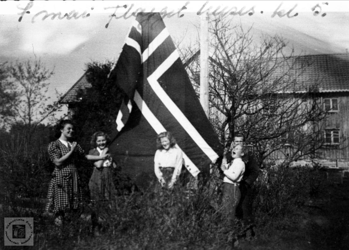 Det er FRED! Familien med flagget 7. mai kl 17.00 1945