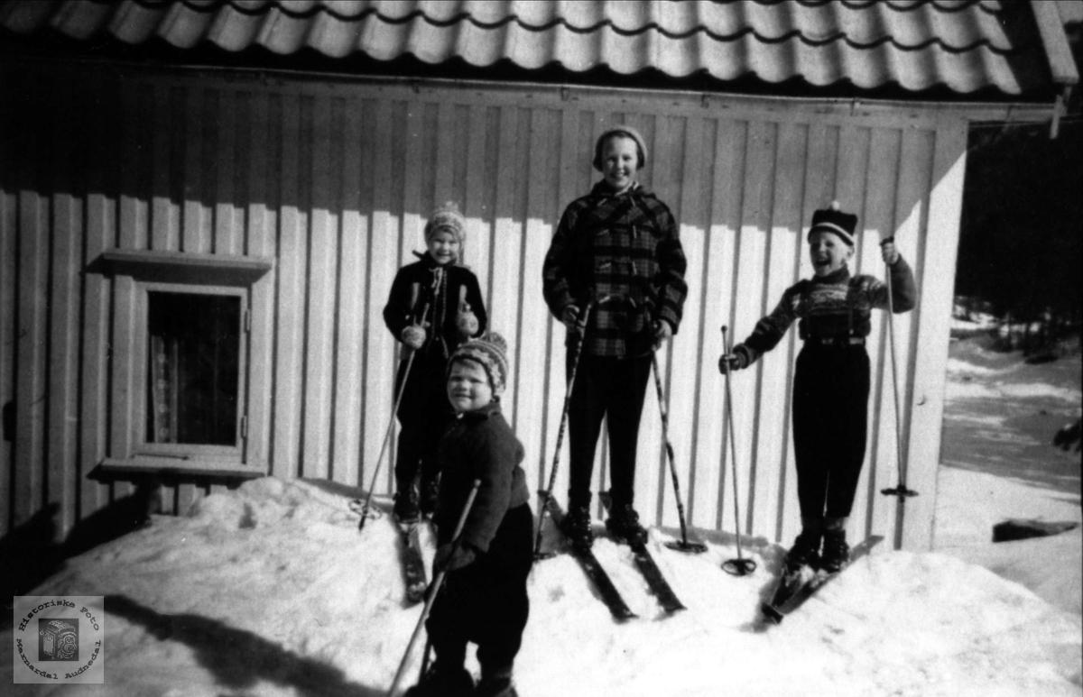 Barn på ski. Finn Ugland m. fl.