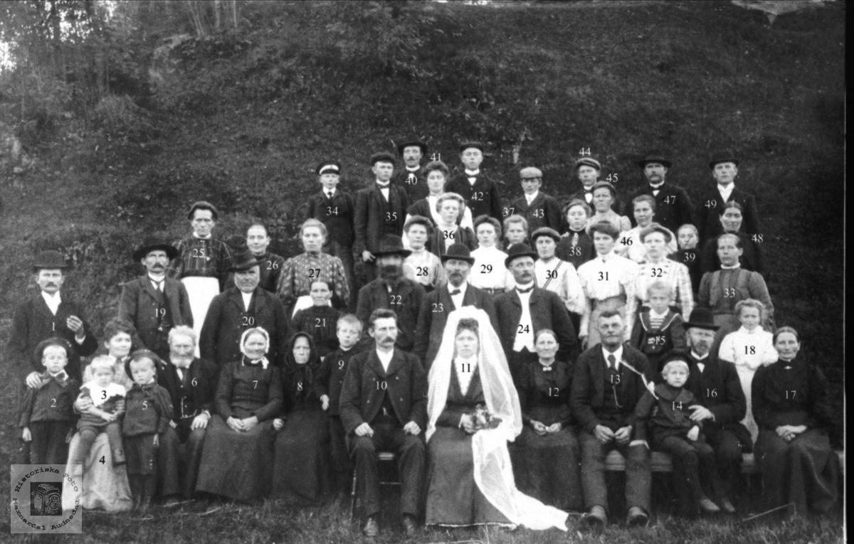 Bryllupsgjester. Mosland, Konsmo. Brudeparet Bent O. Mosland og Torborg O. Øydneskleiv