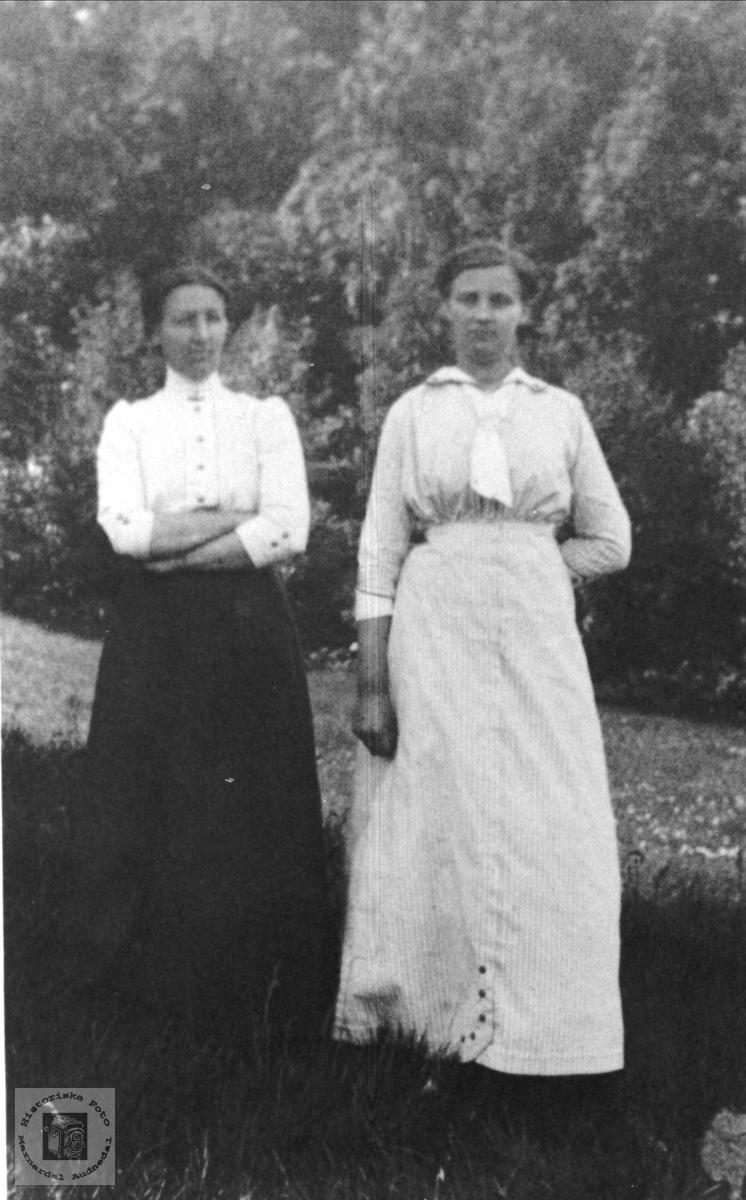 Gruppeportrett. Søstrene Asta og Anna Fidje.