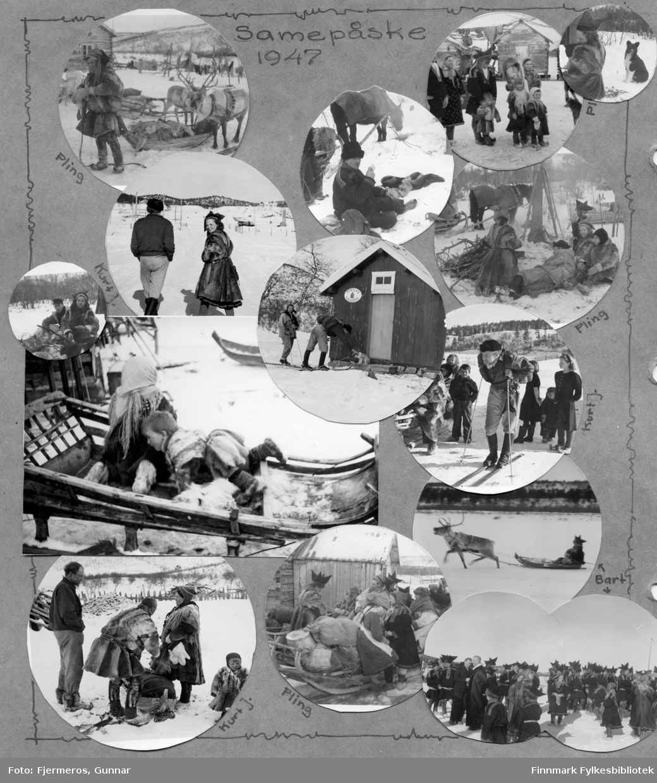 Mange småbilder av samer påsken 1947 der hele albumsiden er scannet. Personer og sted er ukjent.