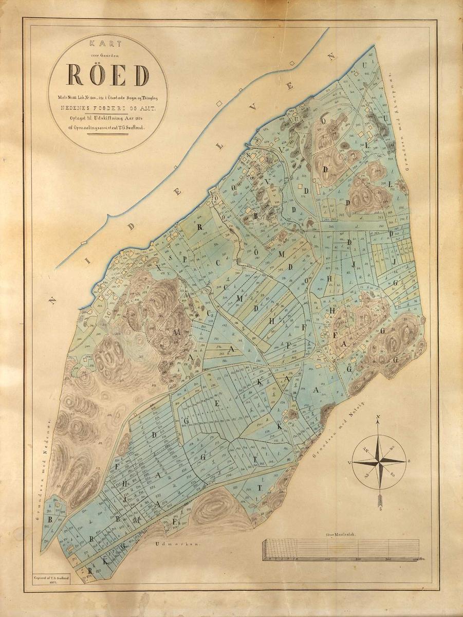 Kart over innmarken på gården Rød eller Røed i Øyestad. Kartet viser dyrket mark, bebyggelse, veier og stier, samt terrengformasjoner og elva. Viser bl.a. bebyggelsen på Bomsholmen. Kompassrose i nederste høyre hjørne.