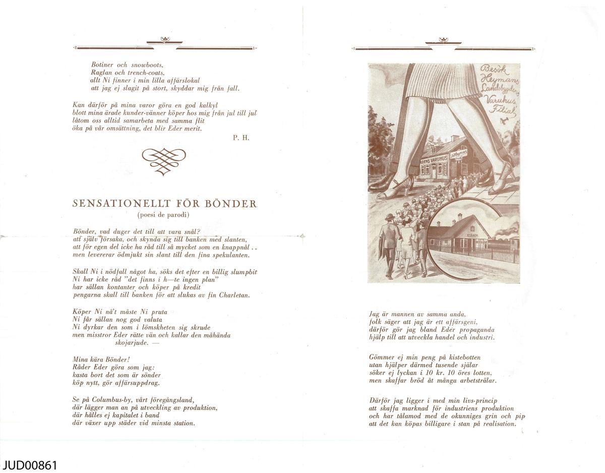 """Pamflett med """"ekiperingspoesi"""", skriven i marknadsföringssyfte."""