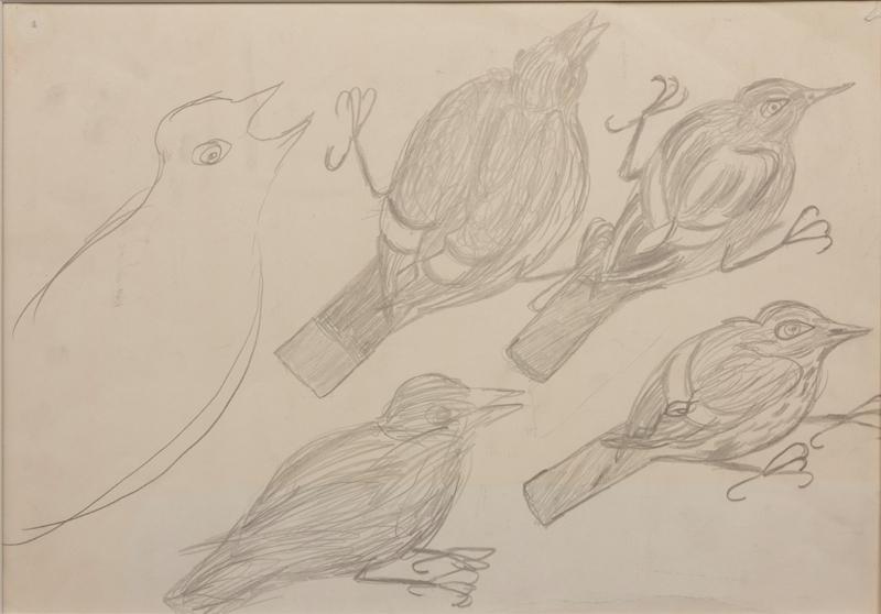 Motiv av fem fugler.