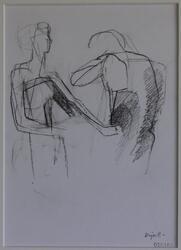 Två figurer [Blyertsteckning]