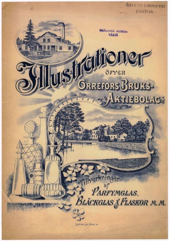 """Priskurant """"Illustrationer öfver Orrefors Bruks-Aktiebolag Tillverkningar af Parfymglas, Bläckglas & Flaskor m.m."""" Orrefors glasbruk 1908-10 Nedladdningsbar under """"Länkade filer""""."""