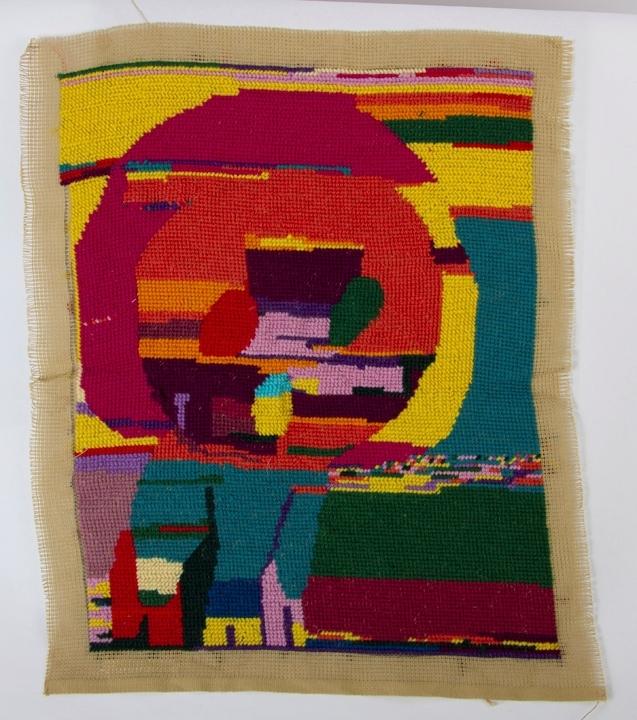 Abstrakt med geometriske og figurative former