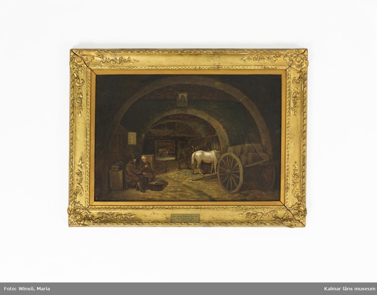 Motivet föreställer ett italienskt gårdsmotiv med valv, vagnar, hästar, åsnor och två personer som sitter vid ett fyrfat.