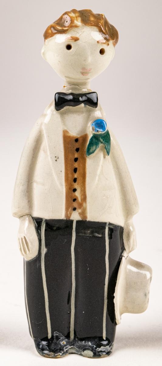 Figurin Brudgum till Brudfölje, figuringrupp av  Dorothy Clough, 1955, Gefle Porslinsfabrik. Ingen märkning.