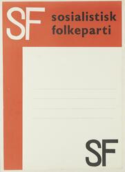 Plakat Sosialistisk Folkeparti. Møtemal. Format: 43x31 cm.