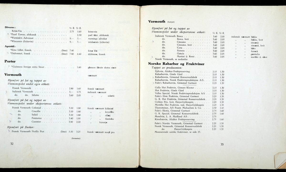 Gamle prislister fra Vinmonopolet. Prisliste nr. 37. 1. Februar 1934. Arbeidskatalog Vin.