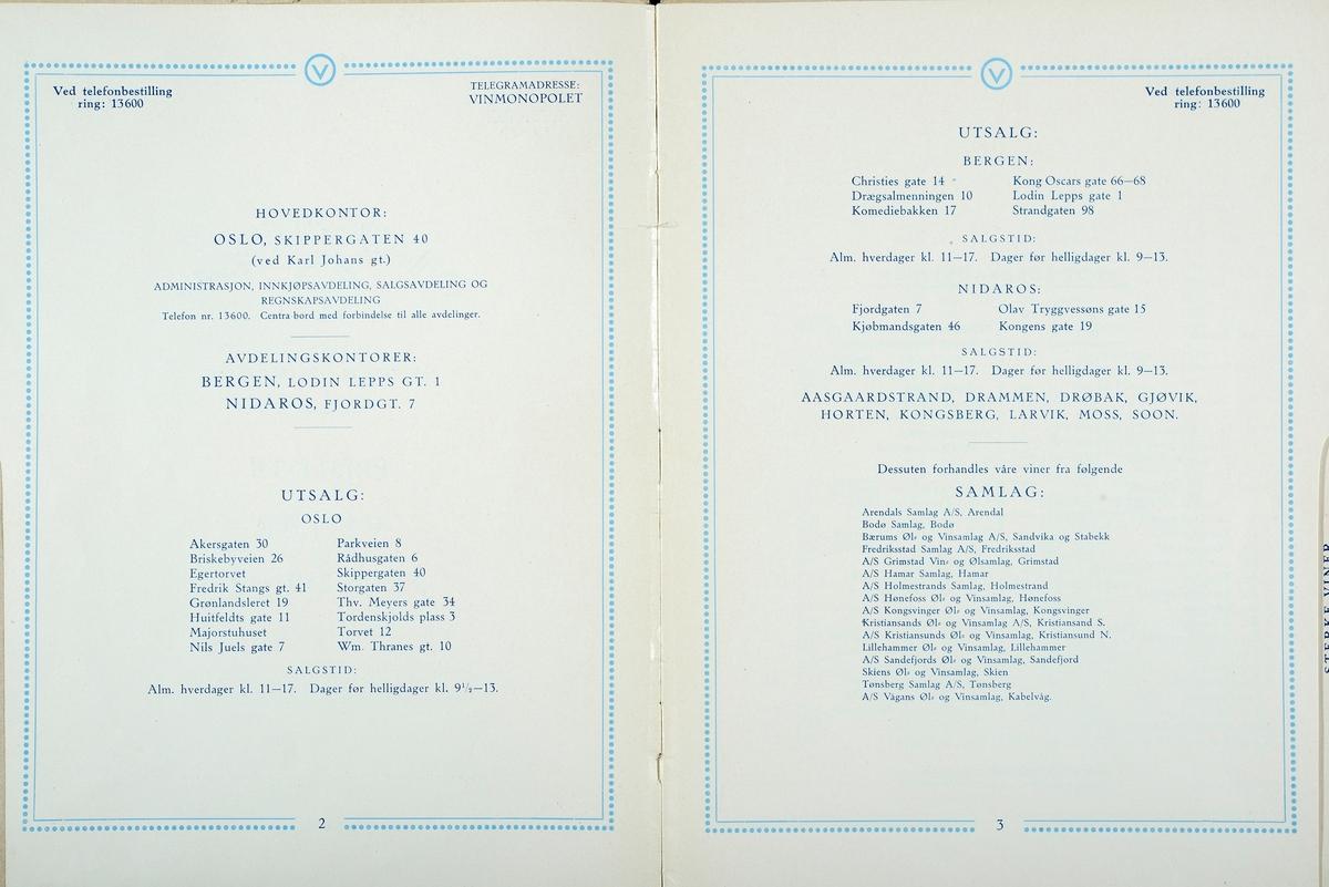 Gamle prislister fra Vinmonopolet. Prisliste nr. 25. 1. Juli 1930. Prisliste over Viner og Fruktviner.