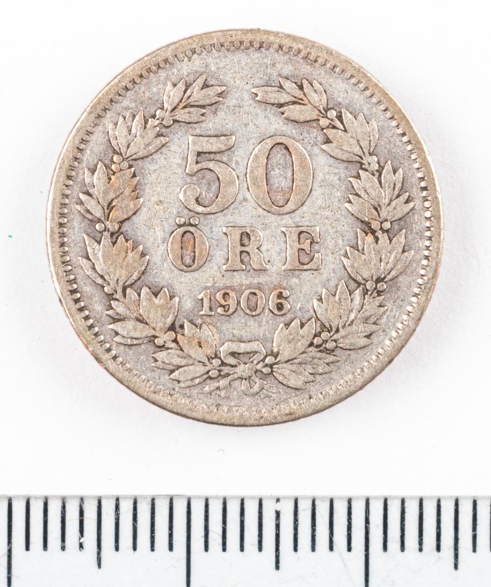 Mynt, 50 öre, 1906.