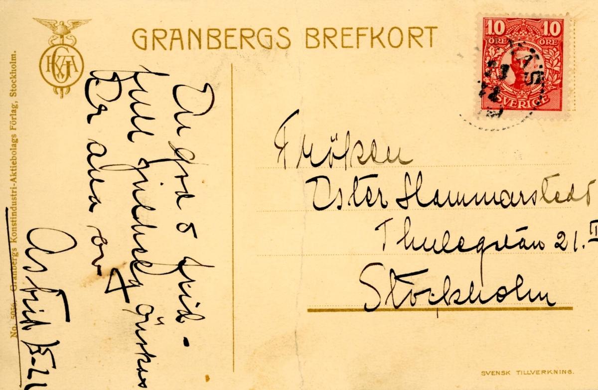 Brevkort till Ester Hammarstedt. Handskrivet i svart bläck.